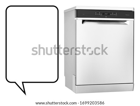 Dishwasher Machine Isolated on White Background. Domestic and Kitchen Major Appliances. Home Appliance. Modern Freestanding Stainless Steel Dishwasher Range Side View #1699203586
