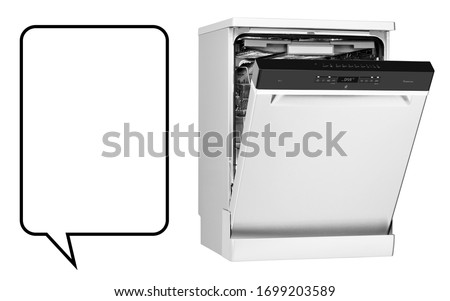 Open Dishwasher Machine Isolated on White Background. Home Appliance. Domestic and Kitchen Major Appliances. Side View of Modern Freestanding Stainless Steel Dishwasher Range #1699203589