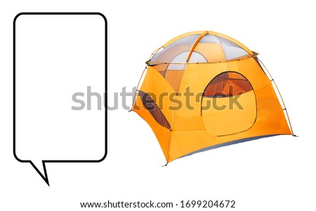 Yellow Dome Tent Isolated on White. Orange Winter Expedition Camping Equipment. Modern Shelter. Ultralight Backpacking Alpine Tent. 1 One Person Camping Tent. Waterproof Hiking Dome Tent Side View #1699204672