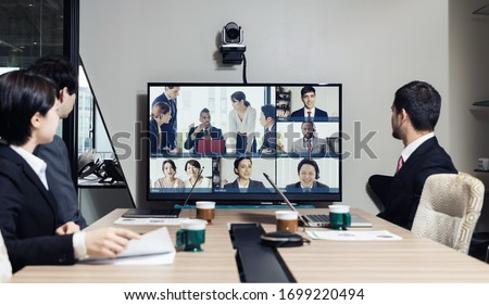 Video conference concept. Telemeeting. Videophone. Teleconference. Royalty-Free Stock Photo #1699220494