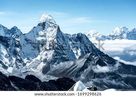 snow mountains in the Himalayas of Nepal.  #1699298626