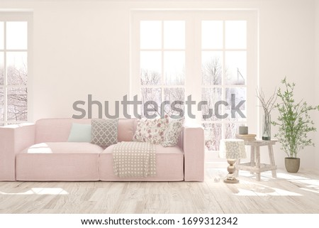 White living room with sofa and winter landscape in window. Scandinavian interior design. 3D illustration #1699312342