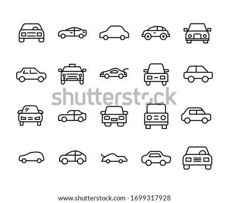 Car line icons set. Stroke vector elements for trendy design. Simple pictograms for mobile concept and web apps. Vector line icons isolated on a white background.  #1699317928