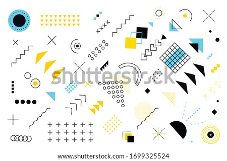 Geometric Memphis Design, Minimal Seamless Cover, Vector Design. Cool Futuristic Texture Modern Flat Bauhaus. Textile Retro Element Design Vintage Memphis Royalty-Free Stock Photo #1699325524