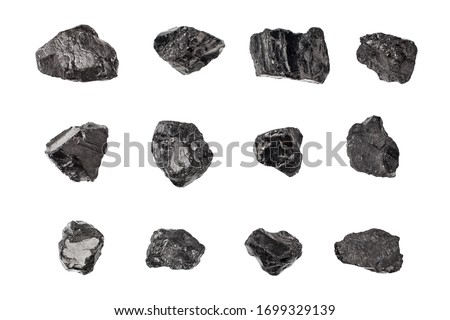 Black coal stones set on white background isolated close up, natural charcoal pieces collection, anthracite rock texture, raw coal mine nuggets, group of embers, graphite samples, mineral fossil fuel #1699329139