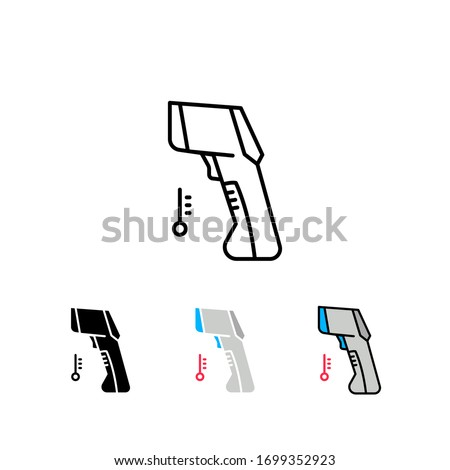 Contactless infrared thermometer for  body temperature. Medical digital non-contact thermometer with colored warning symbols. Gun thermometer icon Vector illustration.Design on white background.EPS10.