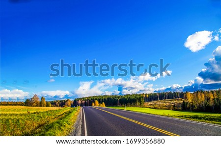 Autumn valley highway road landscape. Highway road in autumn season. Autumn highway road landscape. Autumn highway road #1699356880