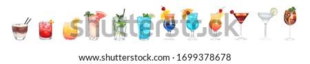 Set of tasty alcoholic cocktails on white background. Banner design #1699378678