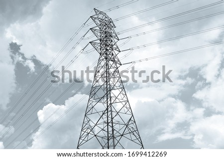 High Voltage Electricity Tower With Sky Background