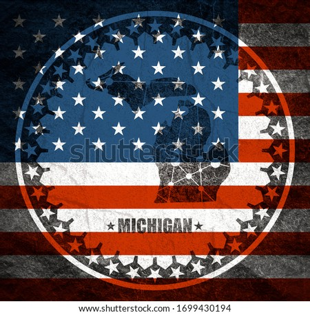 Image relative to USA travel. Michigan state map textured by lines and dots pattern. Stamp in the shape of a circle. Flag of the USA #1699430194