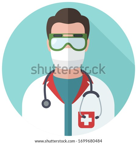 vector Medical icon doctor avatar. Image doctor medic in mask. Stock illustration doctor icon in flat style
