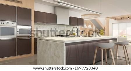 Modern house interior kitchen with living room design. 3D Render #1699728340