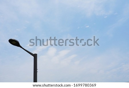 sky clouds streetlights blue white natural scenery                             #1699780369