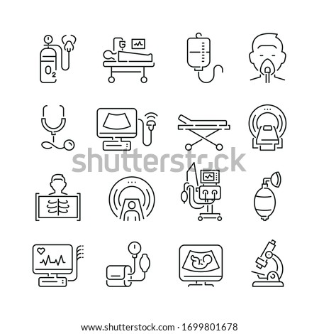Medical diagnostic equipment related icons: thin vector icon set, black and white kit Royalty-Free Stock Photo #1699801678