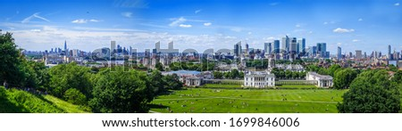 Canary Wharf large panoramic view from Greenwich Park, London, United Kingdom #1699846006