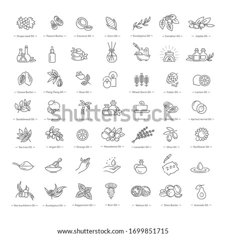 Vector set of natural ingredients and oils for cosmetics in linear style Royalty-Free Stock Photo #1699851715