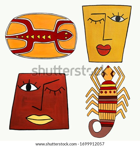 Illustrations stylized as African motifs. Elements drawn in gouache on paper. Clip art isolated on a white background. For print, design, fabric, stickers, packaging, posters.