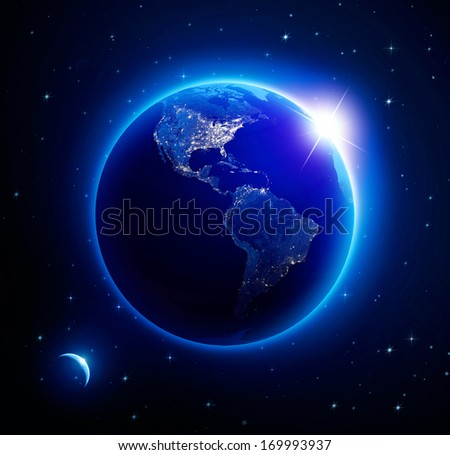 Planet earth America city lights at night. (Elements of this image furnished by NASA) #169993937