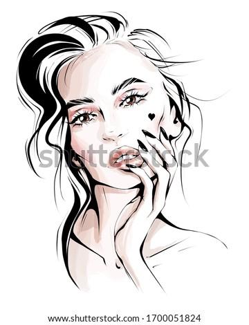 Hand drawn beautiful woman face. Stylish blonde hair girl. Fashion woman. Sketch. Fashion illustration.