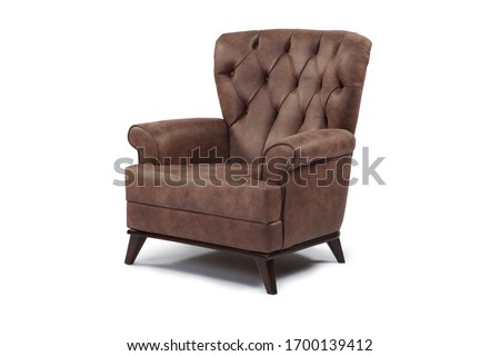 brown armchair chesterfield Isolated on White Background.corner view #1700139412