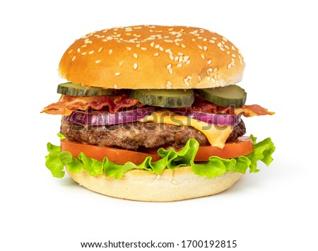 Tasty burger with bacon on white background #1700192815