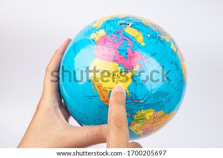 Lady hand hold earth globe on white background #1700205697