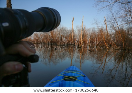 Taking pictures of the wildlife on my kayak.