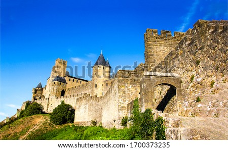Medieval stone fortress wall view. Fortress view. Castle fortress landscape #1700373235