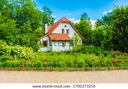 Summer rural cottage view. Cottage house scene. Cottage garden in summer. Summer cottage garden #1700373256