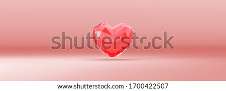 Red Crystal Heart Isolated with Clipping Path, Clipping Mask, 3D Illustration. Sweet Couple Valentine's day  Concept. A heart-shaped crystal for greeting Card.
