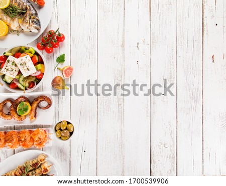 Greek food background. Traditional different greek dishes set. Top view.