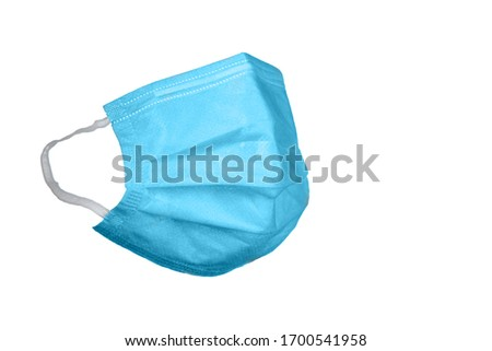 Surgical mask on a white background. Corona virus protection concept. Respiratory medical respiratory textile protective mask. #1700541958