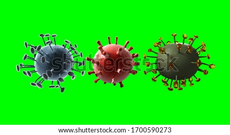 3D rendering Virus covid on green background #1700590273