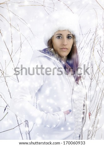 young woman outdoors, in the snow #170060933