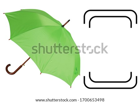 Automatic Open Wood Handle & Shaft Umbrella Isolated on White Background. Classic Walking Stick Rain Umbrella. Modern Green Parasol with Metal Ribs #1700653498