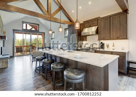 Amazing modern and rustic luxury kitchen with vaulted ceiling and wooden beams, long island with white quarts countertop and dark wood cabinets.
