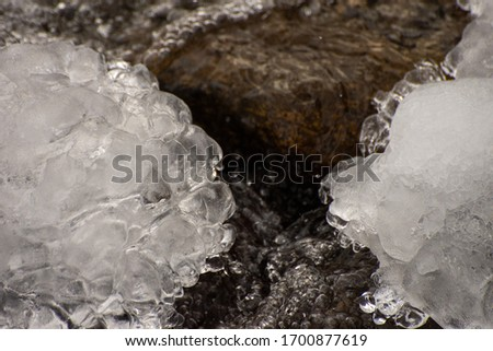 Bubble ice crystal over stream during winter #1700877619