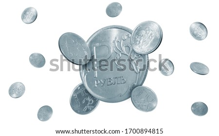 Russian coins. Isolated Russian rubles. Russian Money.  #1700894815