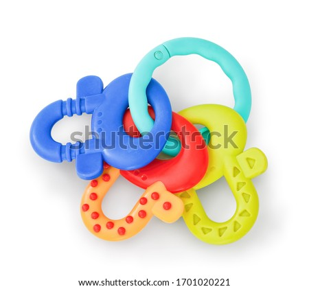 Newborn plastic chewing toy. Plastic colorful keys for small babies. Teething Toys. Baby Teether Silicone Chewing Toys for Newborn Toddler. With clipping (vector) path and natural shadow.