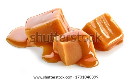 caramel pieces isolated on white background #1701040399