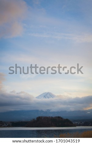 Sunset with Mount Fuji at Kawaguchiko Lakes in an evening 2020, One of the Fuji Five Lakes #1701043519
