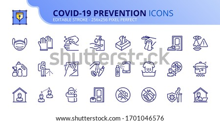 Outline icons about Coronavirus prevention.  Clean and disinfect, sanitizer products, wash your hands, wear mask and social distancing. Editable stroke. Vector - 256x256 pixel perfect. #1701046576