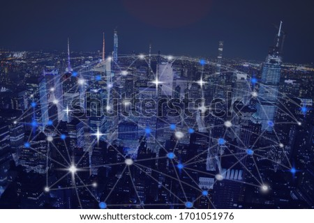 Abstract global network over night urban city skyscrapers #1701051976