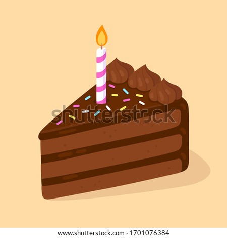 Slice of chocolate birthday cake with candle. Happy Birthday greeting card design element. Cartoon style clip art illustration.