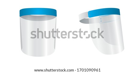 Medical face mask or shield. Transparent plastic helmet. Coronavirus quarantine concept. Protective measures for flu. Virus outbreak prevention and pollution protection, vector Royalty-Free Stock Photo #1701090961