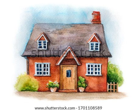 Watercolor illustration of traditional English house isolated on white background. Hand drawn cozy village house with plants and sky