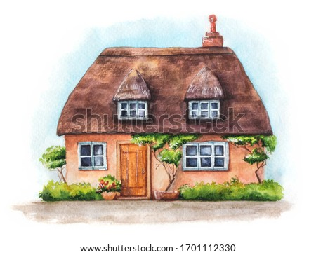 Hand drawn illustration of traditional English village house isolated on white background. Watercolor cozy house with thatched roof, plants and sky.