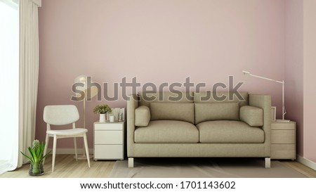 Living room on pink tone design - Living room pastel in house or apartment - Interior simple design - 3D Rendering #1701143602