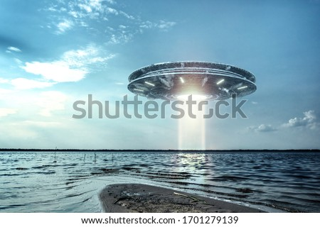 UFO, an alien plate hovering above water, hovering motionless in the air. Unidentified flying object, alien invasion, extraterrestrial life, space travel, humanoid spaceship mixed medium Royalty-Free Stock Photo #1701279139