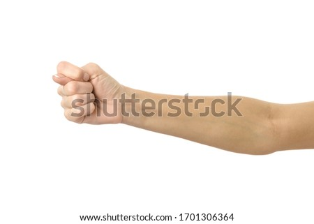 Fig sign. Woman hand with french manicure gesturing isolated on white background. Part of series #1701306364